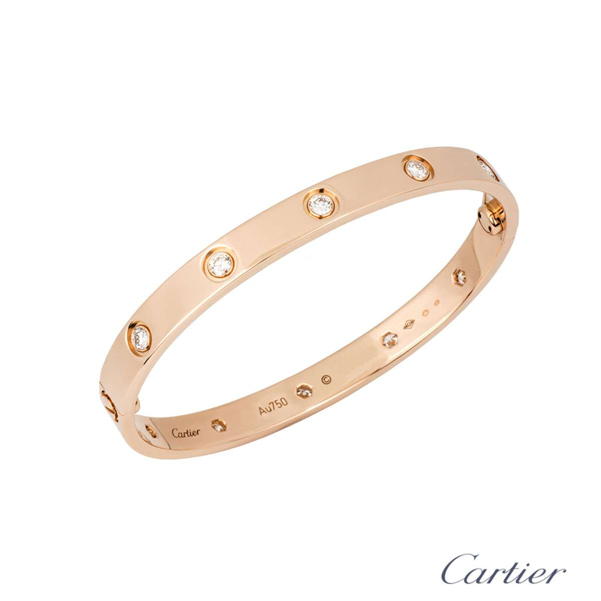 Cartier Rose Gold Full Diamond Love Bracelet Size 17 B6036017